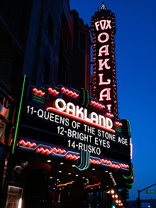 Queens of the Stone Age on the marquee of Oakland's Fantastic Fox Theater