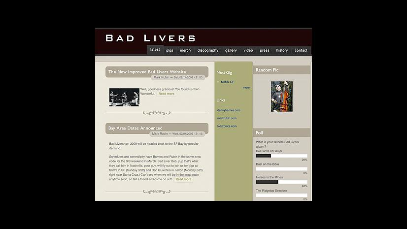 Bad Livers website - by superclean