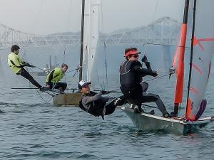 Henry and Simon racing 29'ers at Richmond Yacht Club