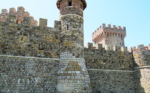 Exterior of Castello di Amorosa - the castle in Napa.