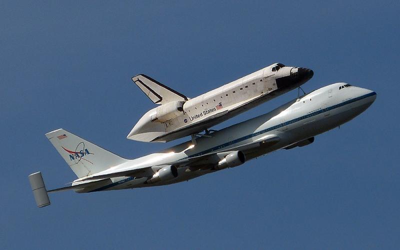 The space shuttle Endeavor piggy backs on NASA's 747.