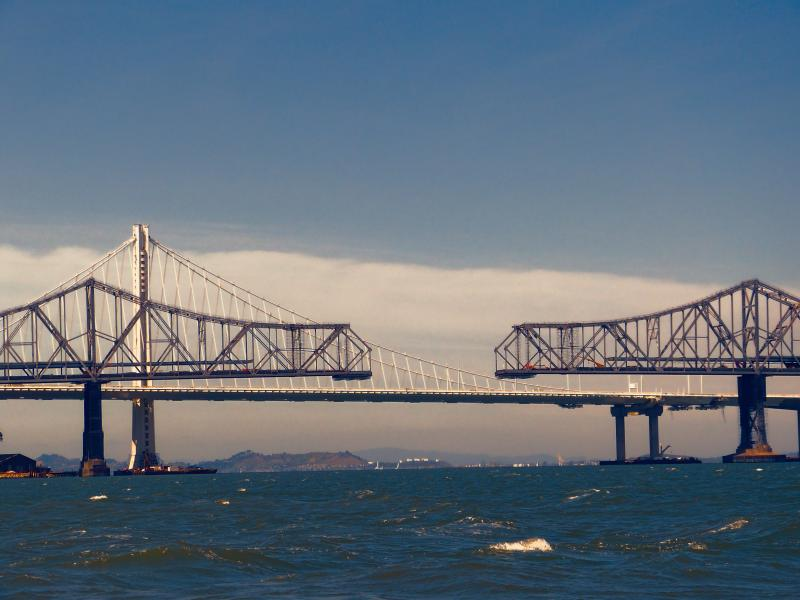 Dismantling the old Bay Bridge as viewed from a Ranger 33