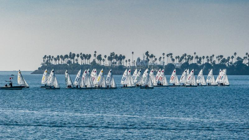 High school and college sailors racing CFJ's at Long Beach