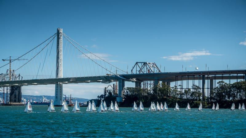 New span of Bay Bridge backdrop