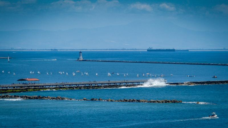Racing inside the breakwall at Cabrillo