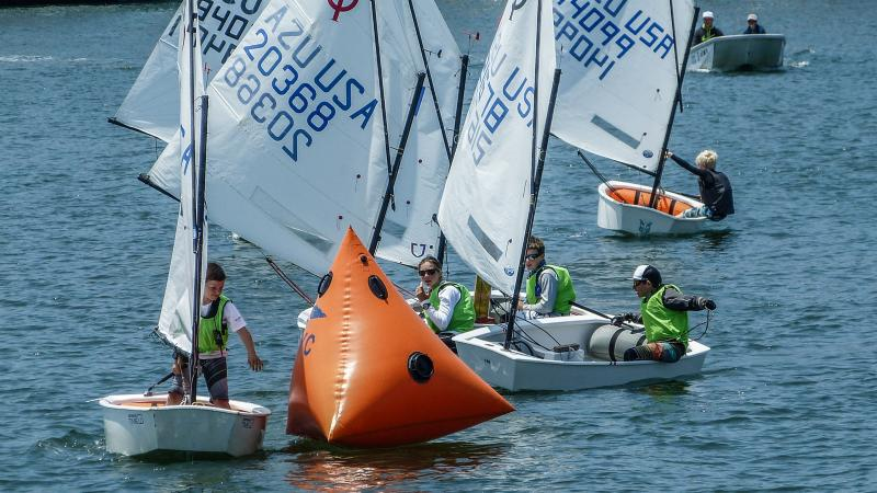 Optimist team racing at Cal Yacht Club, Marina Del Rey