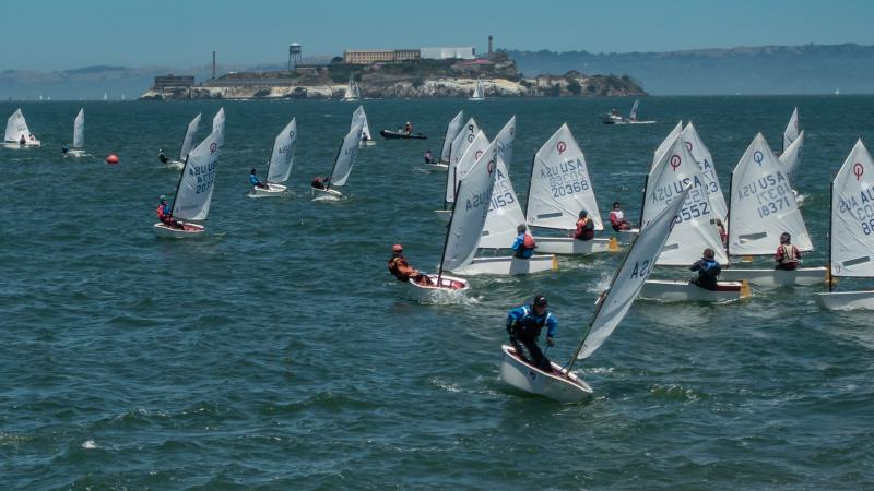Henry en route to winning 2017 Opti Heavy Weather Regatta on the San Francisco Cityfront