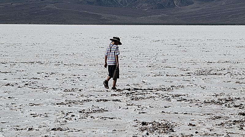 Simon walking the salt flats at Badwater.