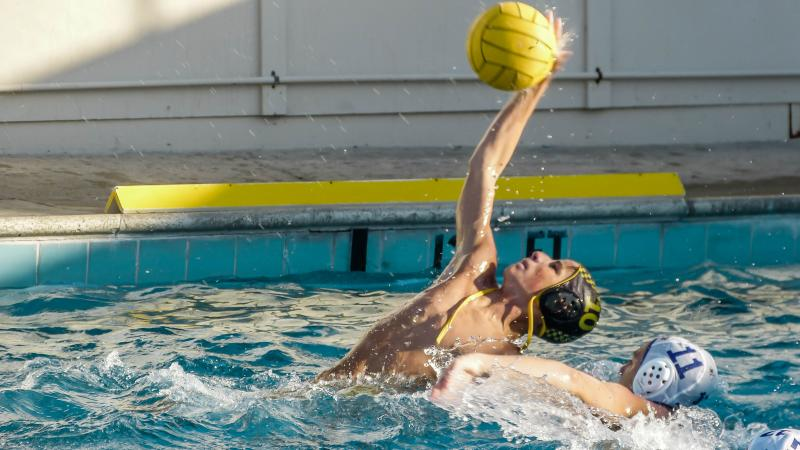 Henry Boeger playing water polo for Alameda HS Hornets