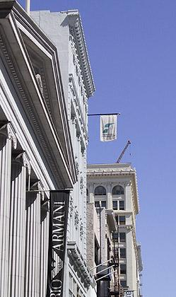Financial Interactive flag flies over Union Square in San Francisco