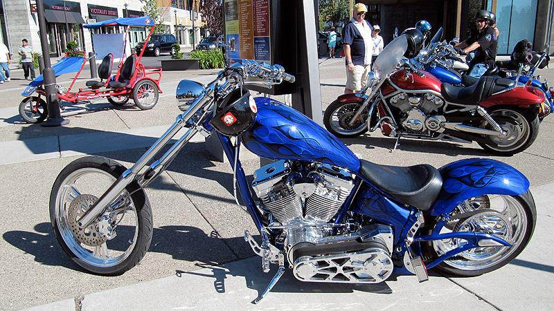 Choppers in downtown Bend, Oregon.