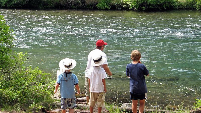 Fishing along the very swift Metolius River