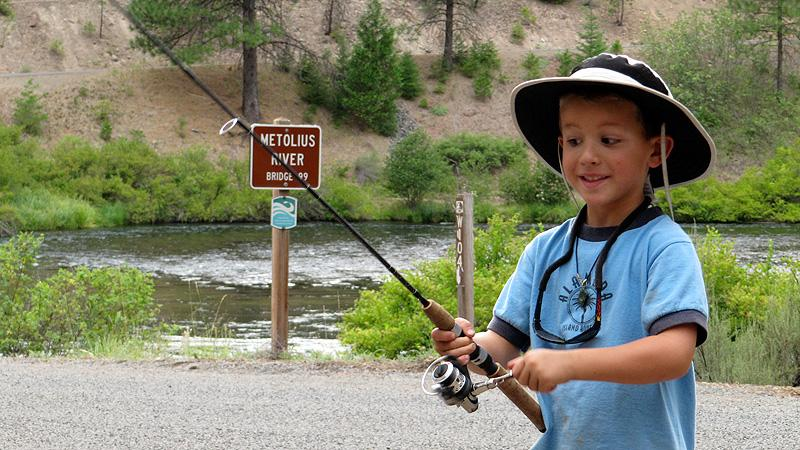 Henry learning to fly fish.