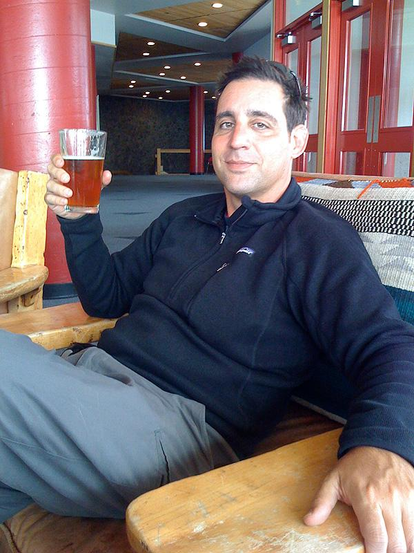 """Jack enjoying a """"Red Chair"""" ale up on Mt. Bachelor."""