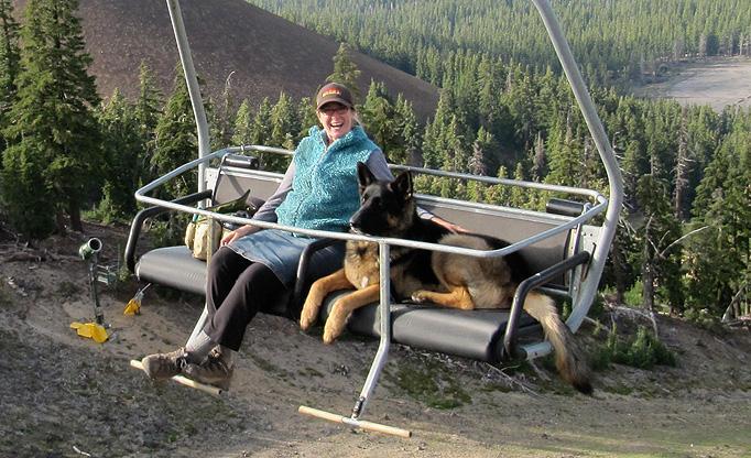 Dog on the ski lift at Mt. Bachelor
