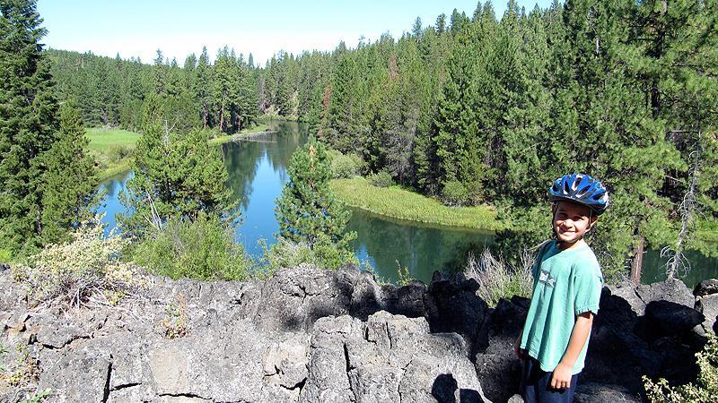Mountain biking along the Deschutes River.