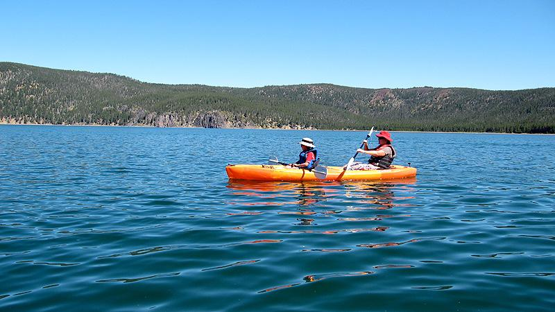 Kayaking in the Newbury Crater. First time paddling in a volcanic crater.
