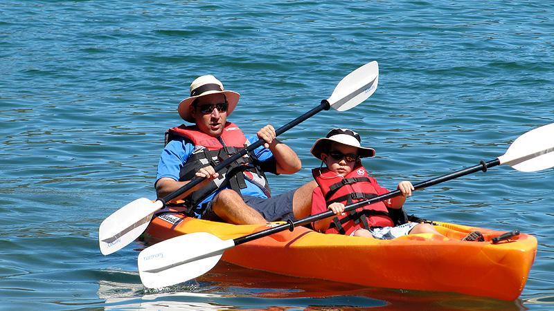 Simon and Henry paddling in Newbury Crater.