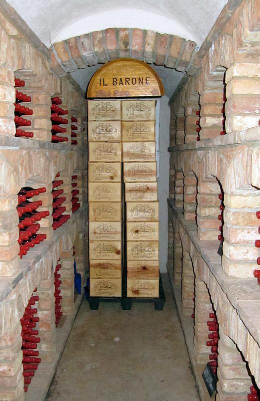 Wine storage in the dungeon of Castello di Amorosa