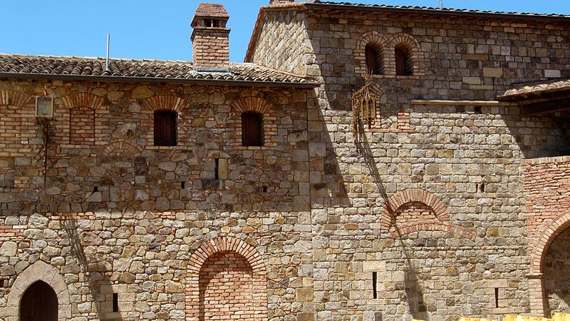 Castle walls from inside courtyard where they setup for parties and concerts.