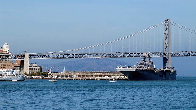 Visiting aircraft carrier.