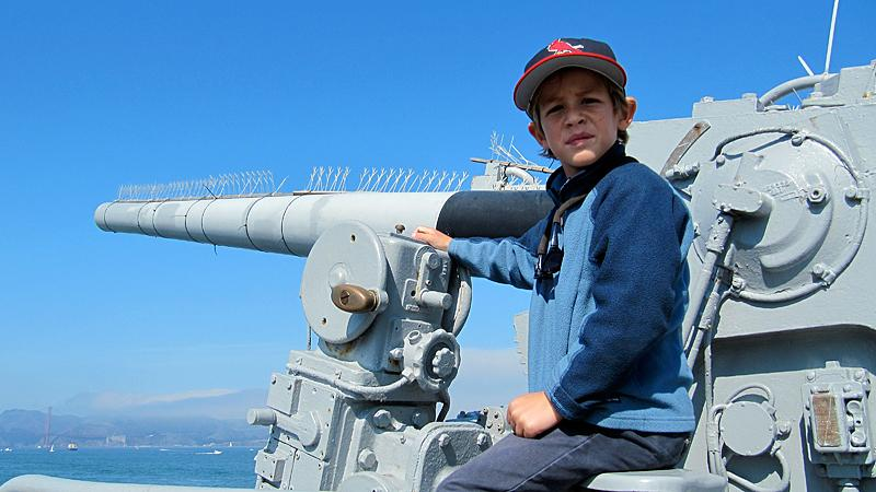 Henry loved to hang on the gun turrets.