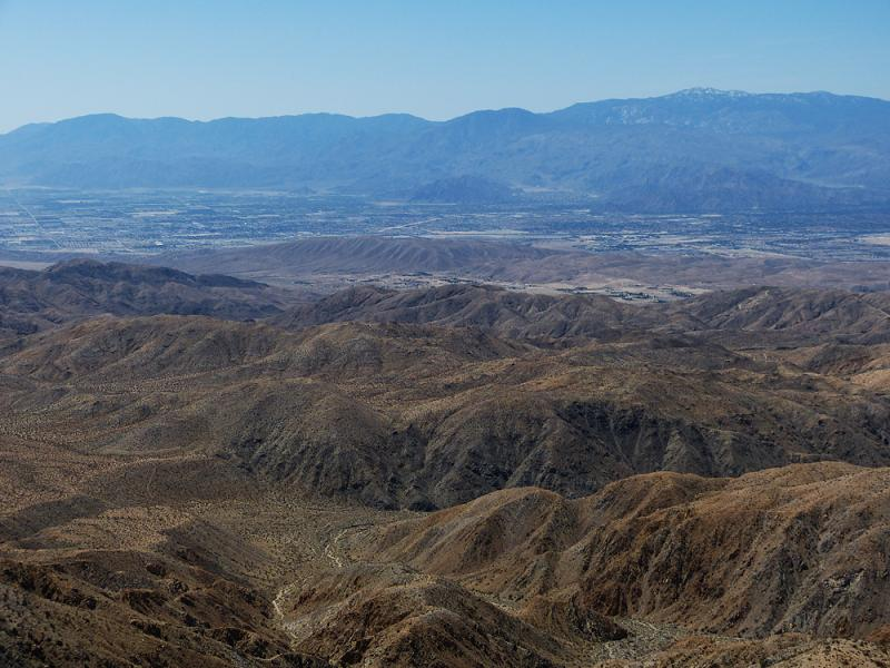 Looking down on Coachella valley and San Andreas Faultline from Keys View.