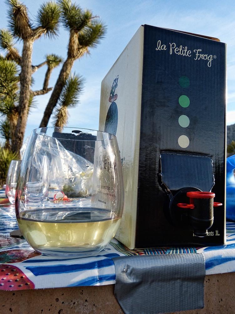 Our wine selection was La Petitie Frog sauvignon blanc in a box.