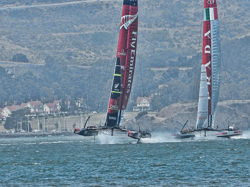 Emirates Team New Zealand and Luna Rossa at the start.