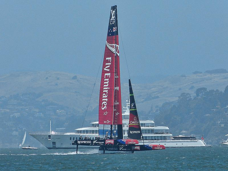 Emirates Team New Zealand giving Larry Ellison a little show.