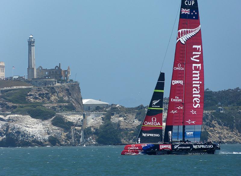 Emirates Team New Zealand sailing up wind.