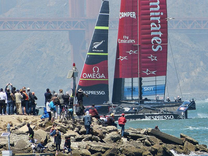 Emirates Team New Zealand coming around the spit known also as The Wave Organ.