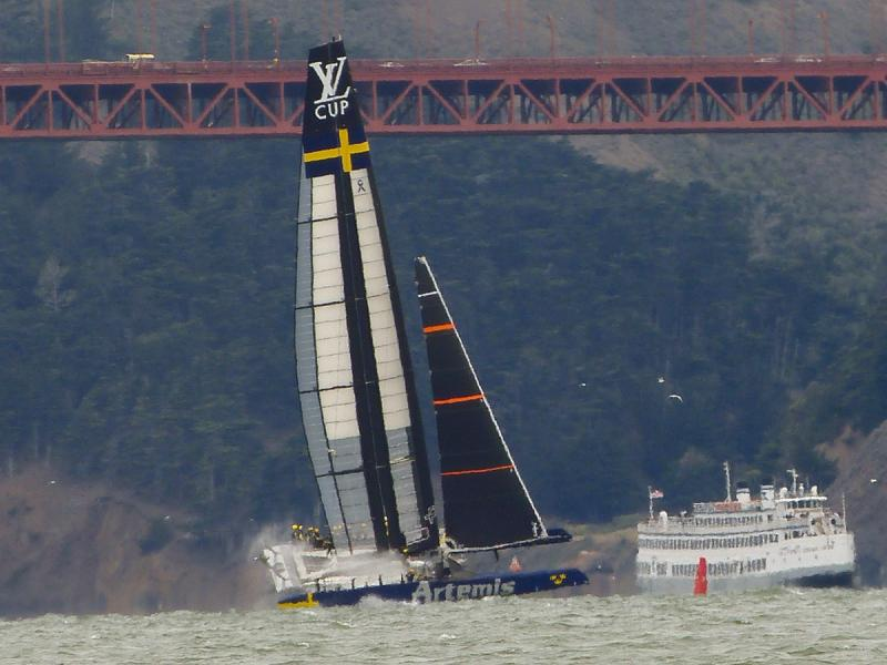 Artemis practicing in their brand new AC72 shortly before appearing in Louis Vuitton Cup