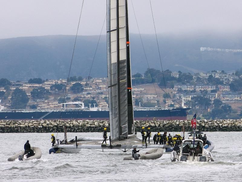 Artemis setting out for their first race day from Alameda Point