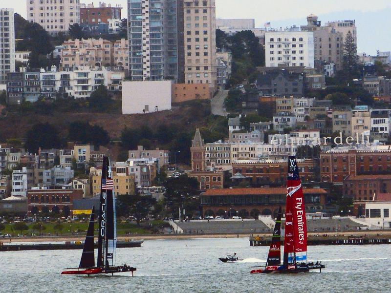 Impromptu scrimmage as viewed from atop Angel Island.