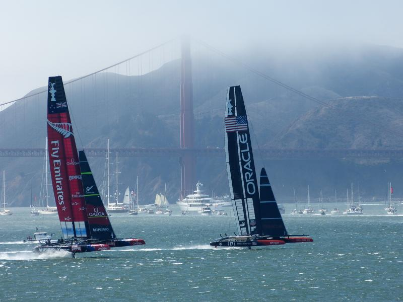 Kiwis and Oracle dueling on San Francisco Bay.