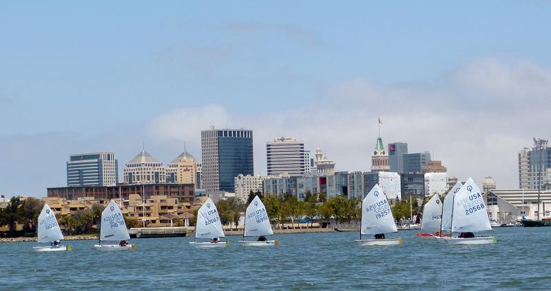 Racing along the Oakland City Front in the Estuary