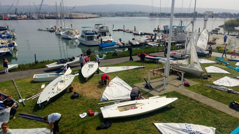 Rigging for Regatta at Encinal Yacht Club
