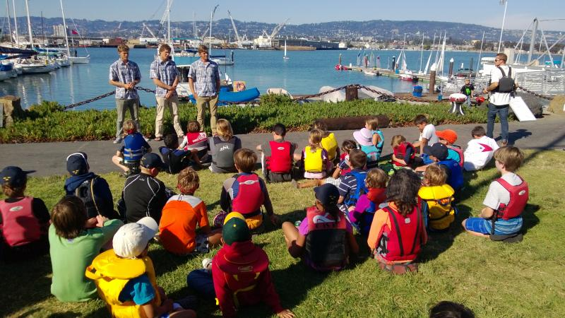 America's Cup Youth Sailors talking to our Encinal sailors