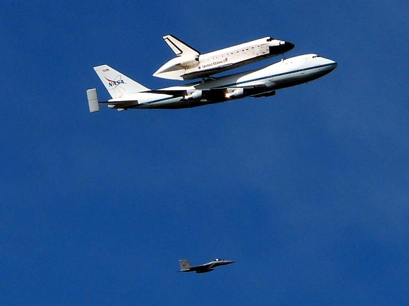 The space shuttle Endeavor piggy backs on NASA's 747.