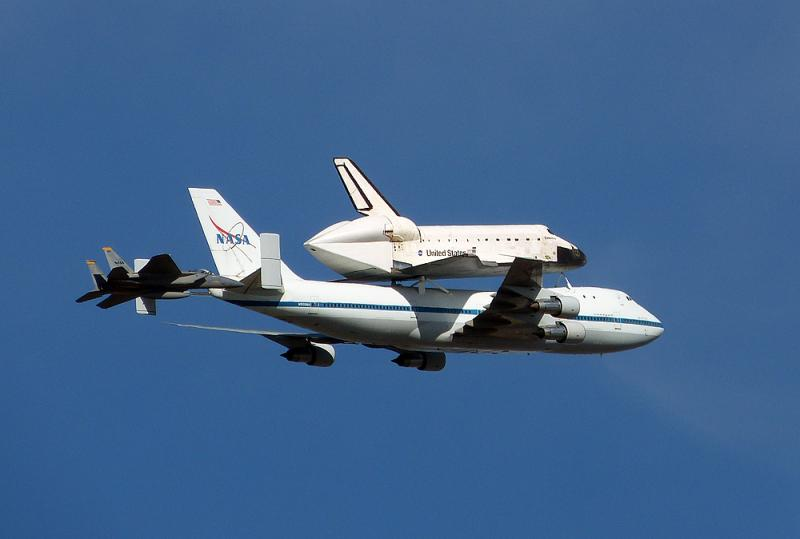 Fighter escort for the space shuttle.