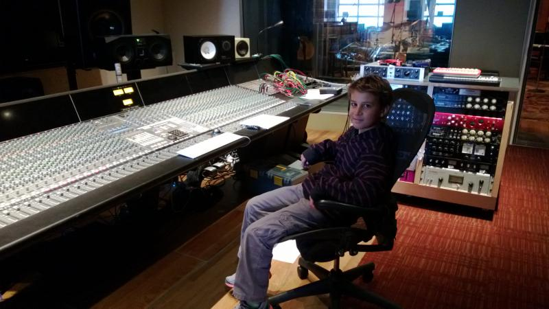 """Simon at recording session for """"Hallucinations"""" at Ninth Street Opus"""