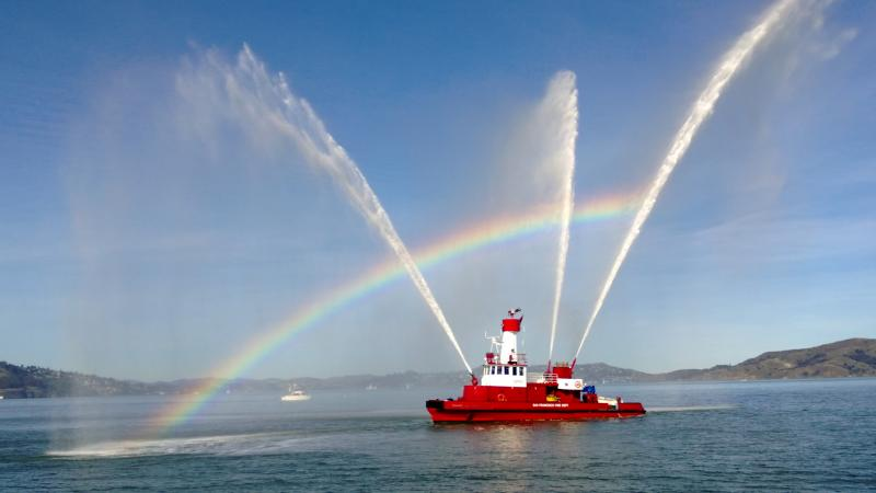 San Francisco fireboat puts on a show in front of the St. Francis Yacht Club
