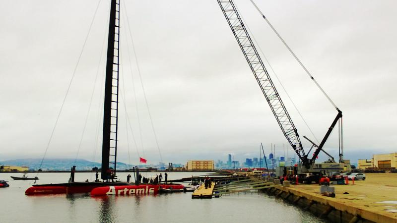 """Artemis Racing's """"Big Red"""" out at Alameda Point"""
