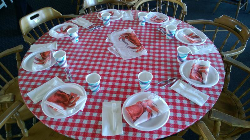 Setting up the crab feed.