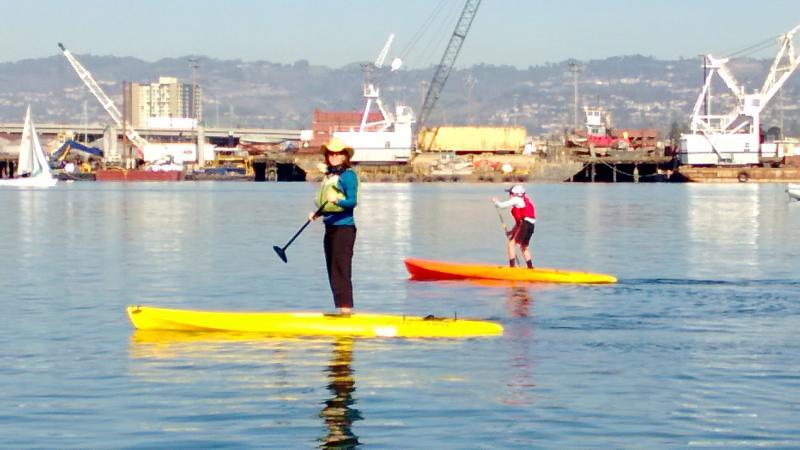 Kari and Henry paddling in the Oakland-Alameda Estuary