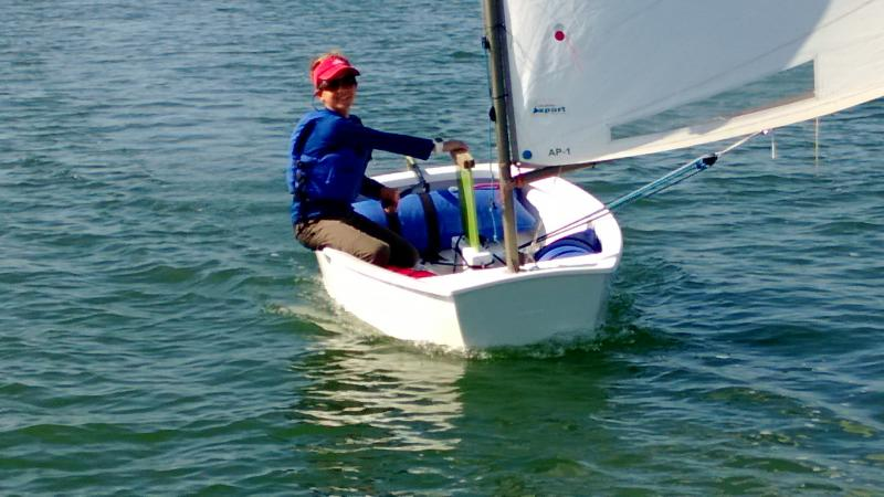 Simon racing his opti