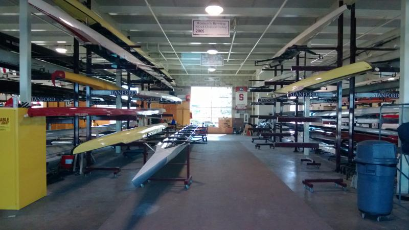 Peak inside Stanford's boathouse