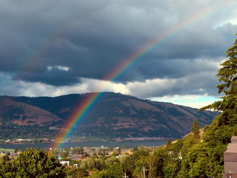Rainbow touching down in Hood River