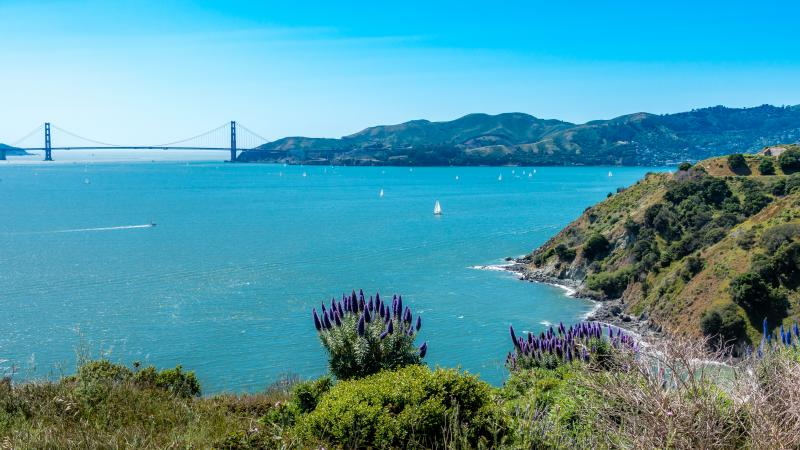 View from Angel Island looking over to the Golden Gate Bridge.